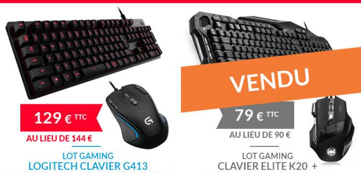 Les produits Gaming du moment : clavier et souris Logitech / clavier Elite et souris Zelotes