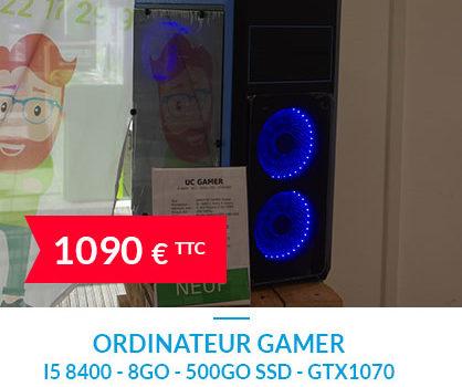 Ordinateur GAMER I5 8400 - 8Go - 500Go SSD - GTX1070